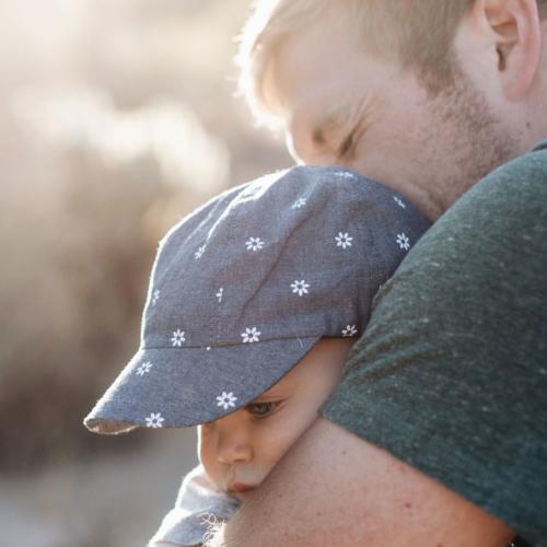 Dad embraces son