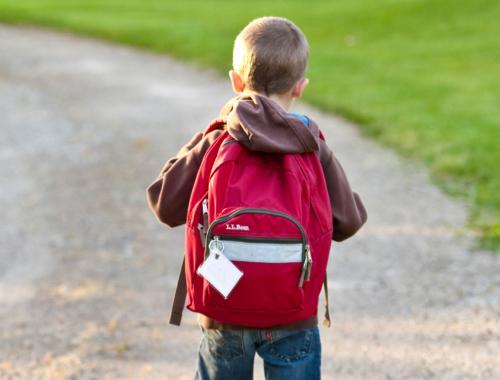 Boy walking to school