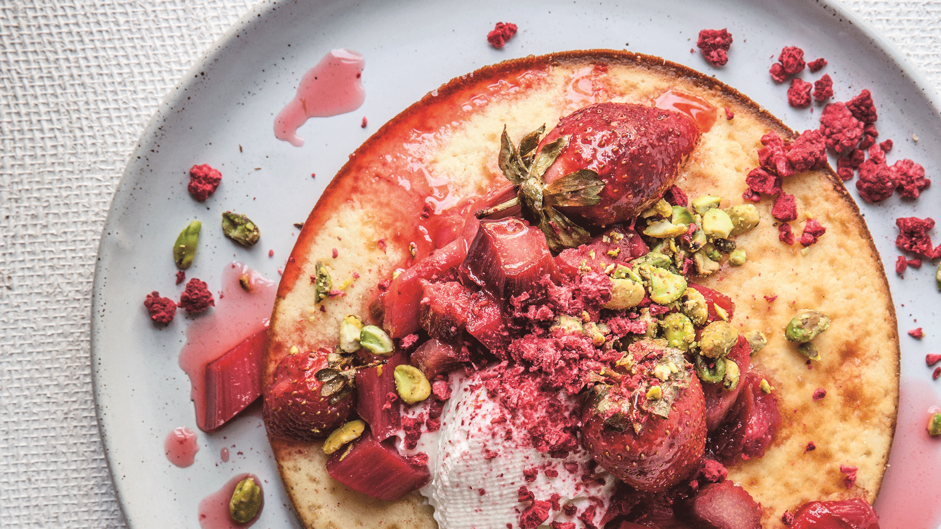Rosewater Hotcakes With Roasted Rhubarb & Strawberry
