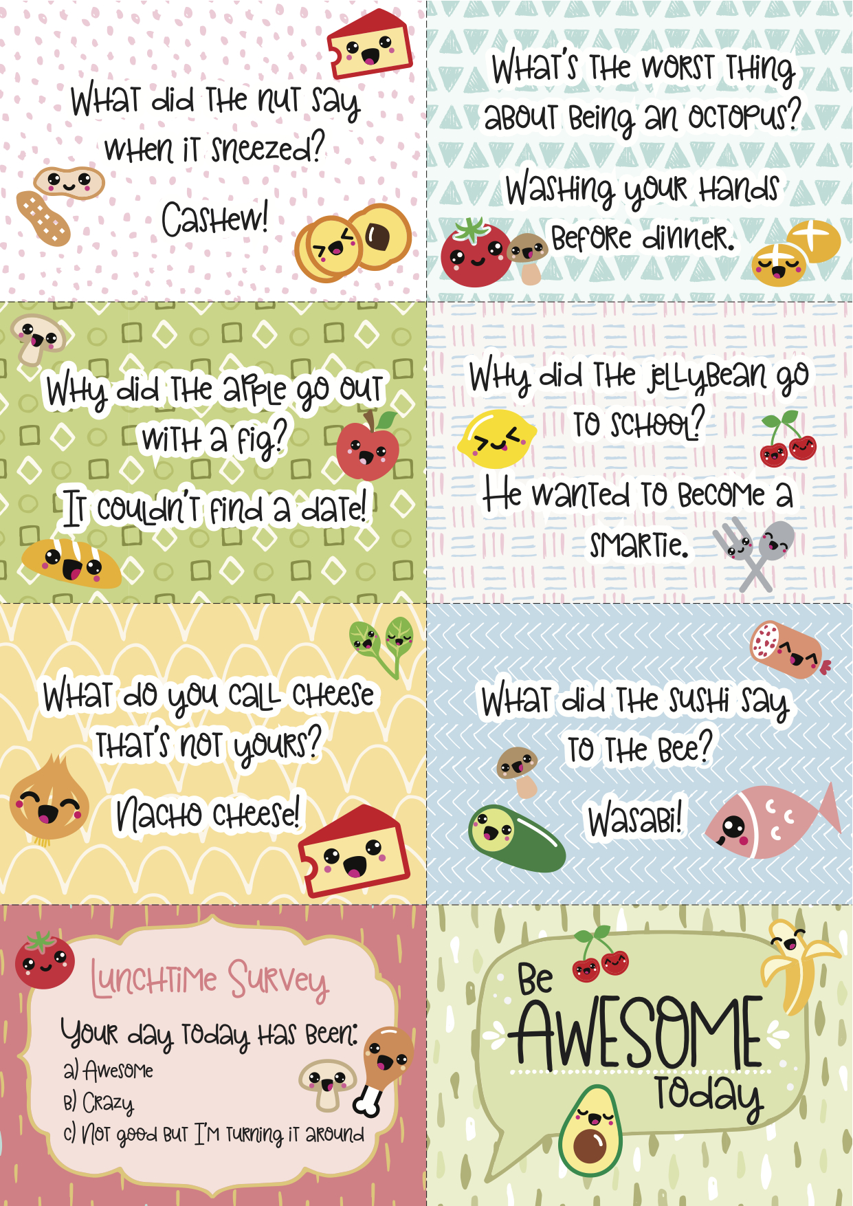 photo about Printable Lunchbox Notes known as Cost-free Printable Tremendous-Kawaii Lunchbox Notes