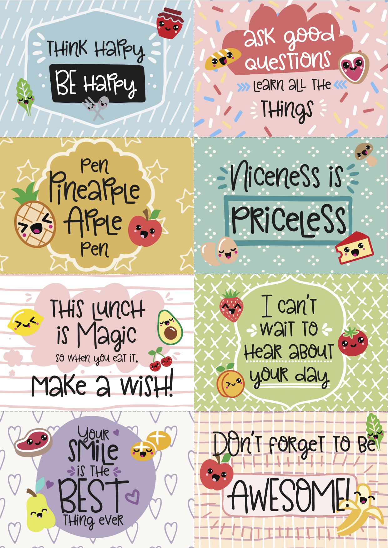 photograph about Printable Lunchbox Notes named Free of charge Printable Tremendous-Kawaii Lunchbox Notes