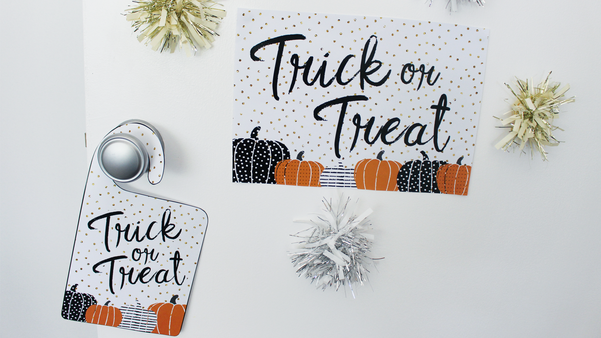image regarding Halloween Signs Printable called Totally free Printable Halloween Trick-or-Handle Doorway Indicators