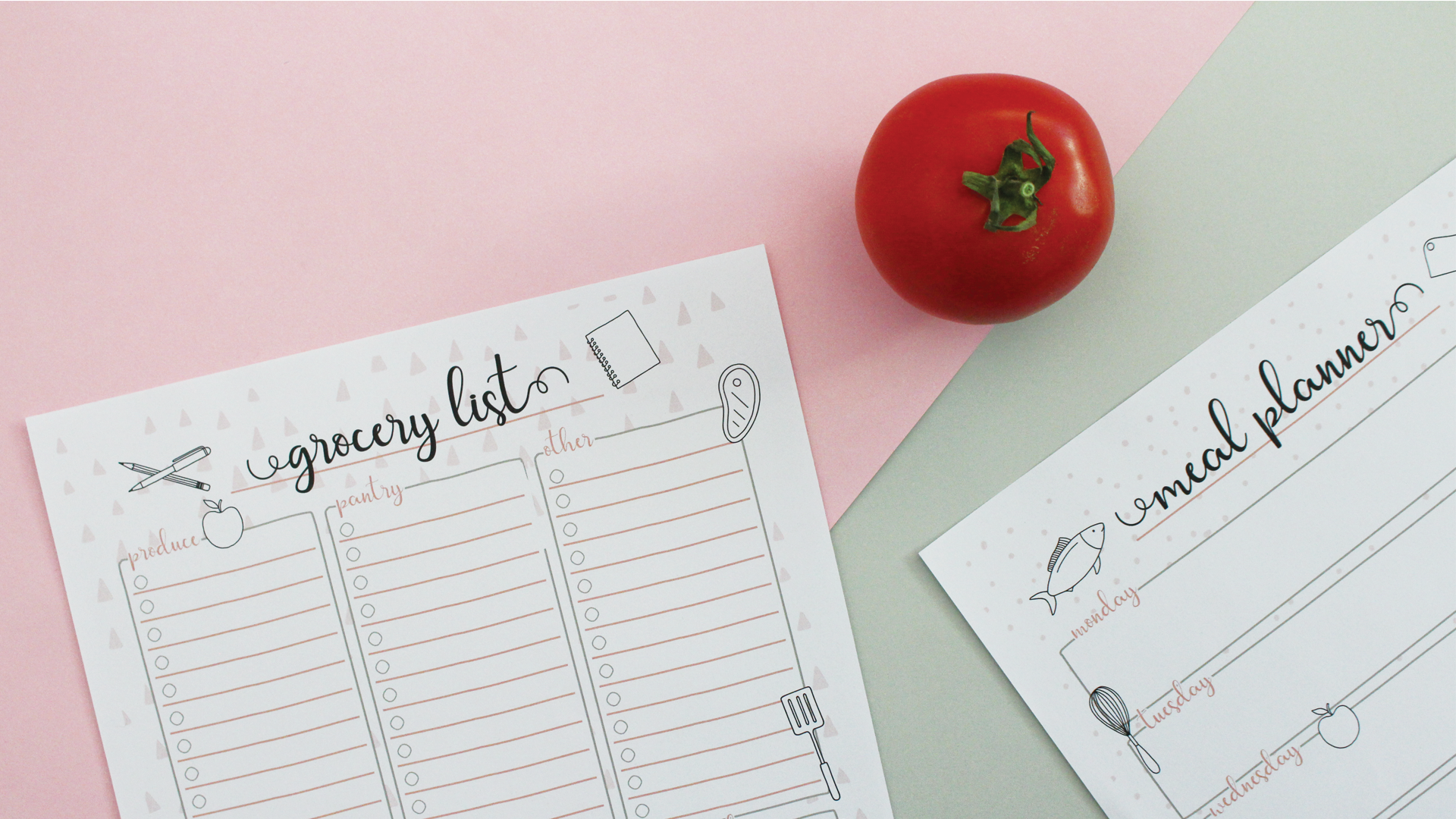 Free Grocery List + Menu Planner Printables