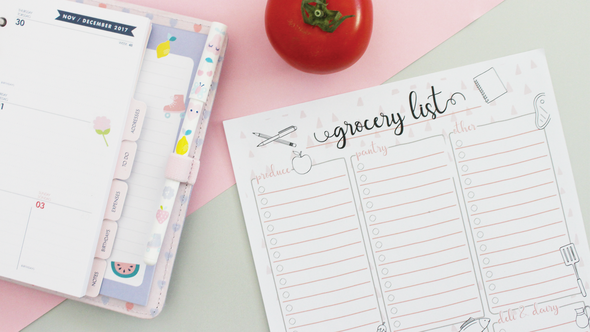 free grocery list menu planner printables