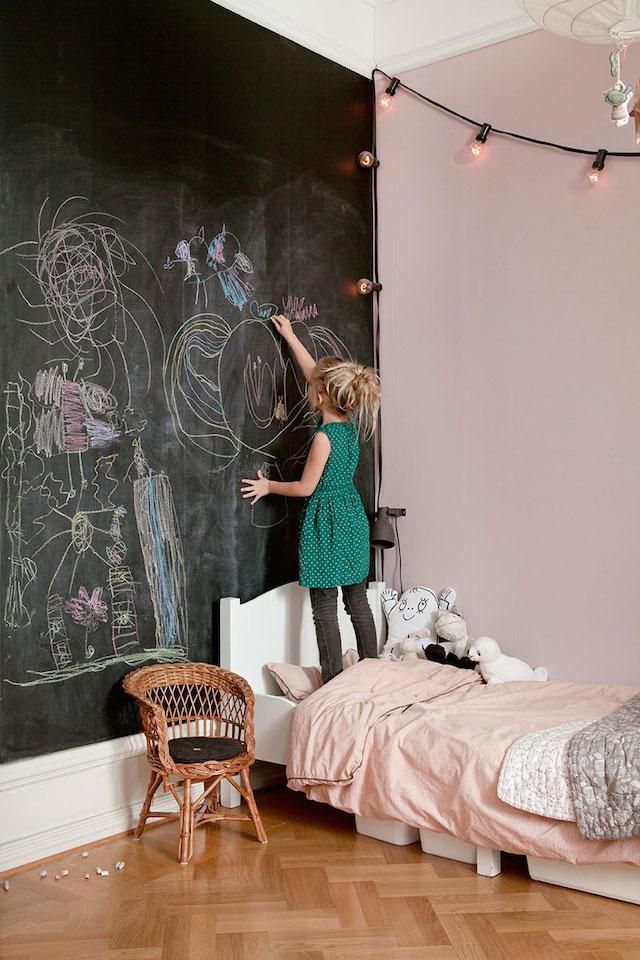 Blackboard paint in a child's bedroom