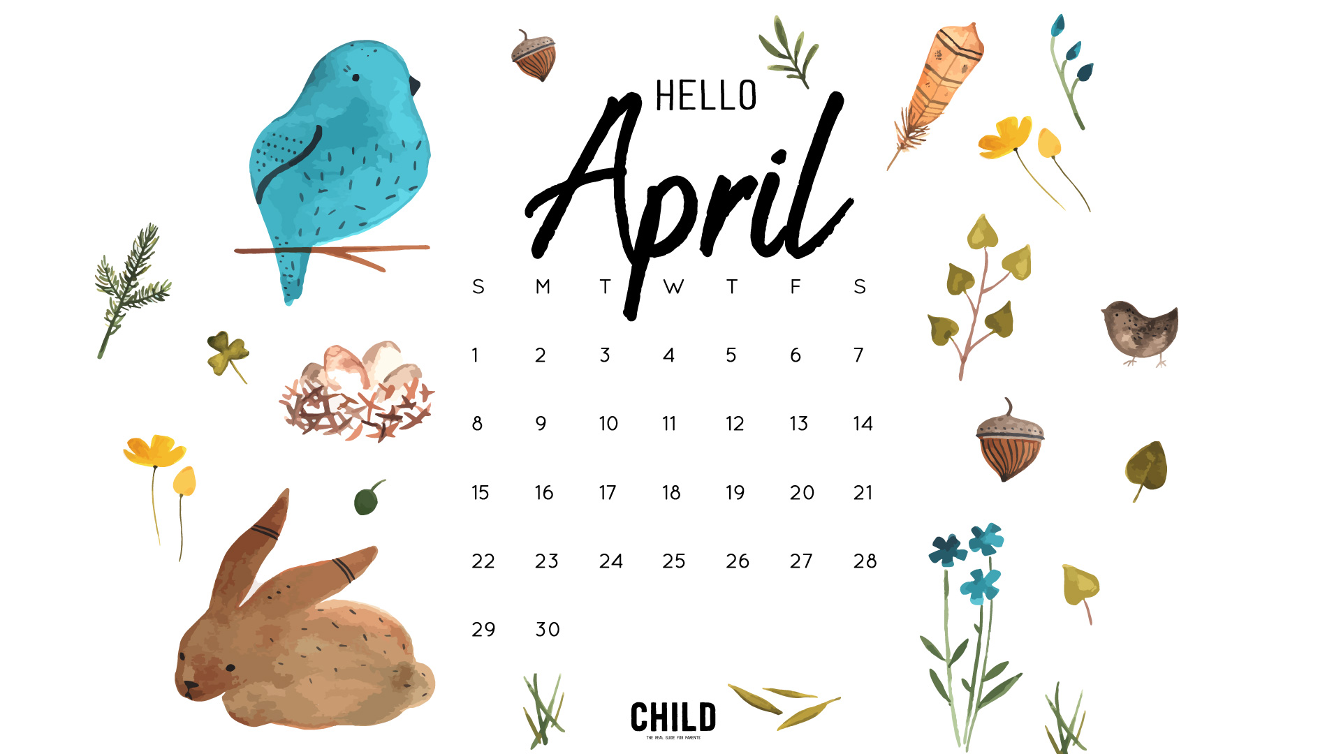 Free April Calendar Wallpaper