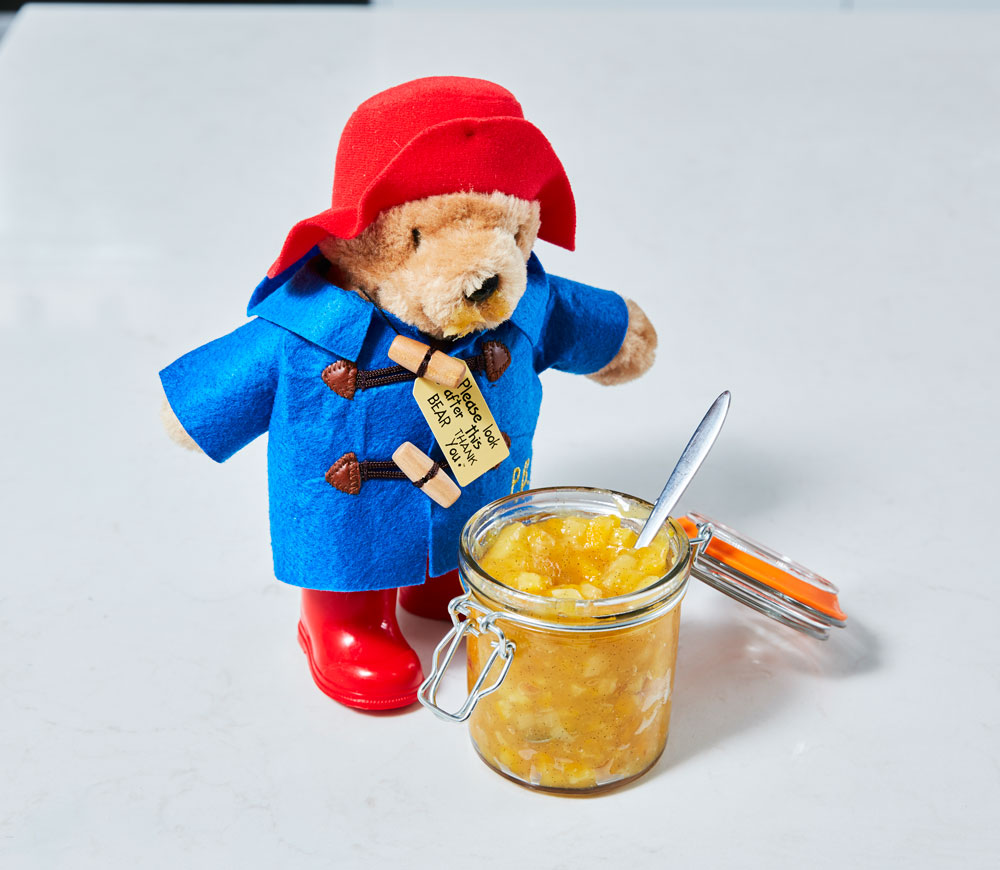 Paddington Bear and a jar of Pineapple Marmalade