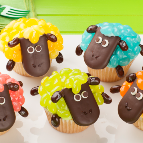 DIY Jelly Bean Sheep Cupcakes