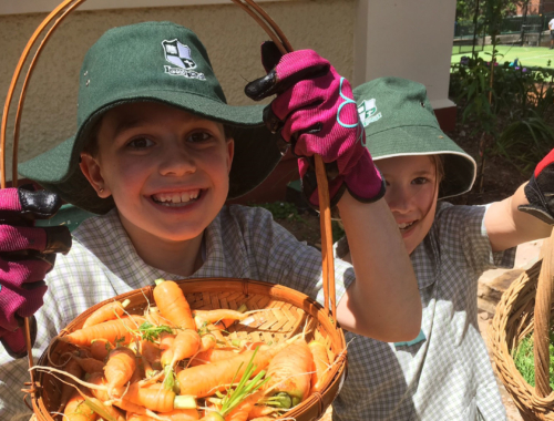 Arden Anglican School students show off their produce.