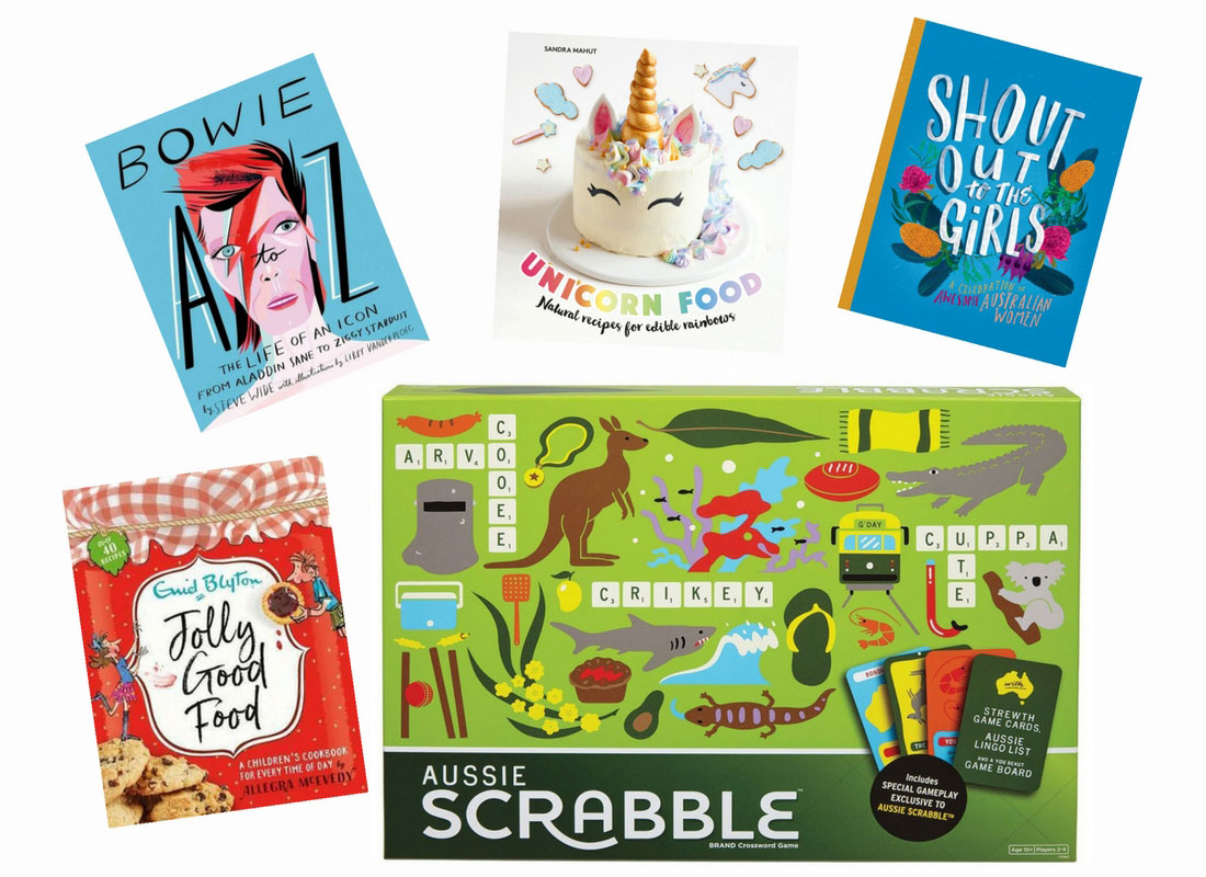 Child Mags survey prize pack includes limited edition Aussie scrabble, a david bowie picture book, an enid blyton cookbook, a rainbow food cookbook, and 'shout out to the girls - a celebration of Australian women""