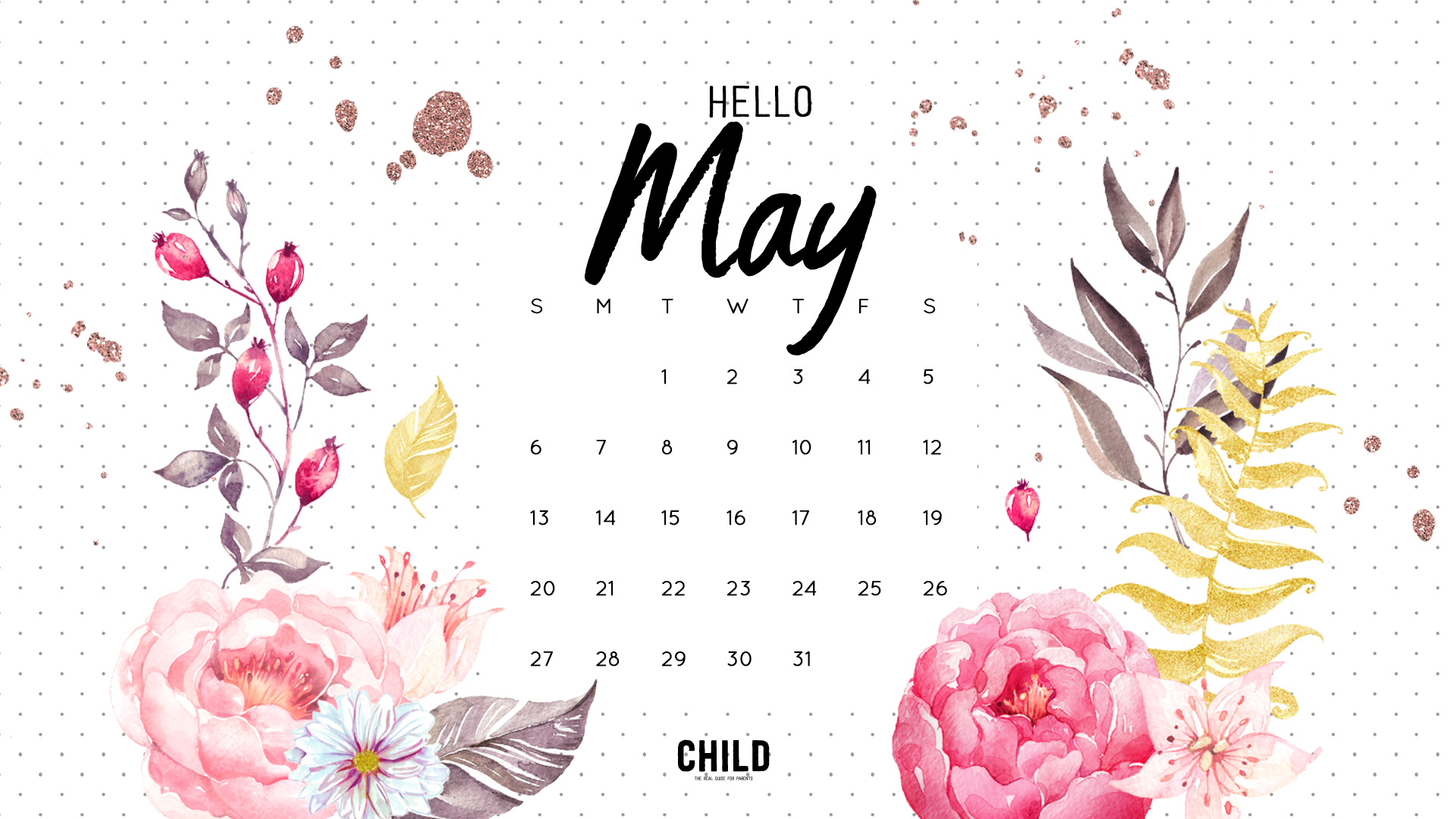 Free May 2018 Calendar Wallpaper