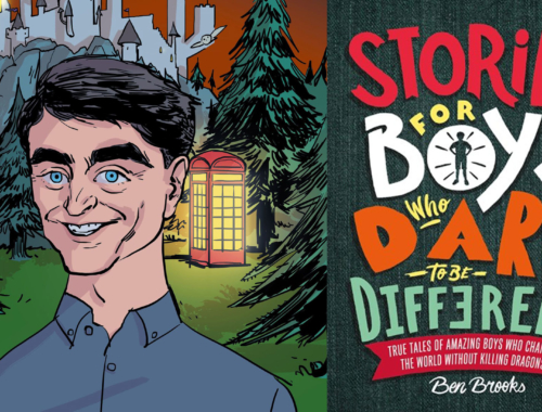 Illustration of Daniel Radcliffe and the Stories for Boys Who Dare to Be Different book jacket.