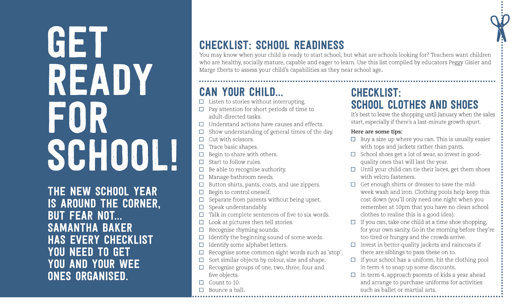School readiness checklist