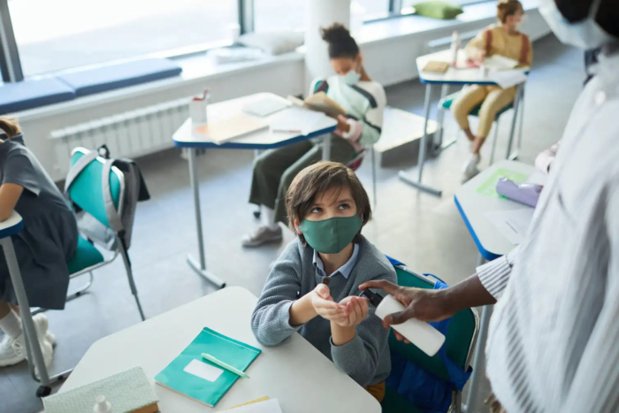 classroom-saniters-being-used